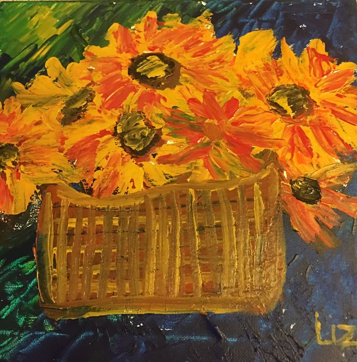 Sunflowers in a Basket - Discover Color by Liza