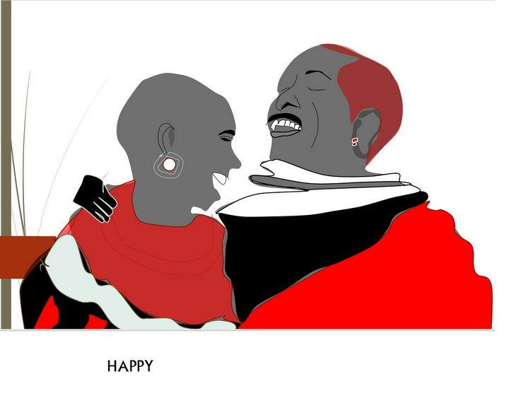 A HAPPY MAASAI COUPLE - VILLAGE ART
