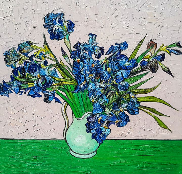 Still Life Vase with Irises - Paint Our Days