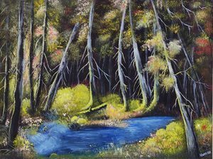 Forest lighting oil painting