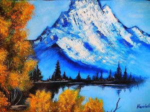 Oil knife painting Glacier mountain