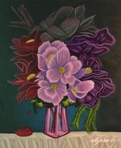 Flowers in a Pink Vase