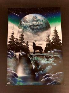 Wolf Design Spray Painting