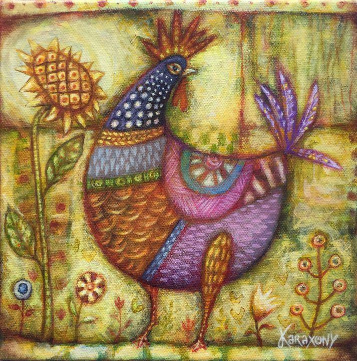 Rooster in the yard - Karaxony Art