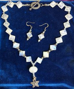 faceted Moonstone & Marcasite neckla