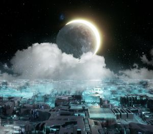 Sci Fi city with Moon