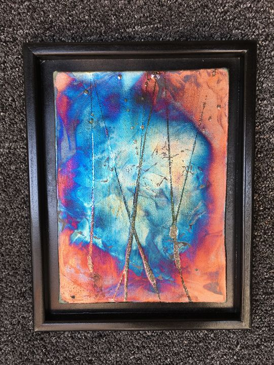 Copper matte raku plaque - It's a Steele Ceramics