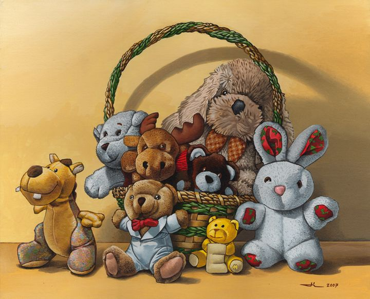 The basket of plush - Jean-Luc Bernard