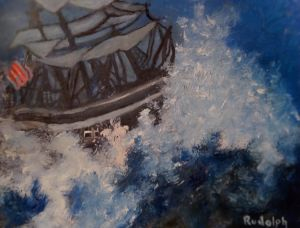 Sailboat on Stormy Sea - Rudolph's