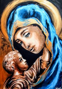 Golden madonna and child