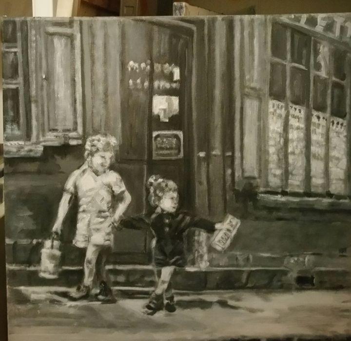C'est pas du temps pour les vitres! - Vintage paintings by Kaytee