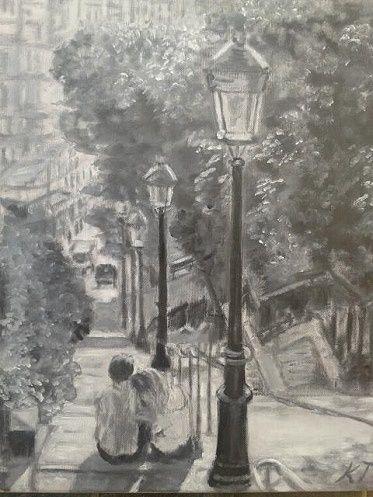 Les amoureux du Montmartre - Vintage paintings by Kaytee