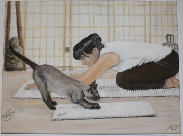 Arch your back or: Kathy and Kitty - Vintage paintings by Kaytee