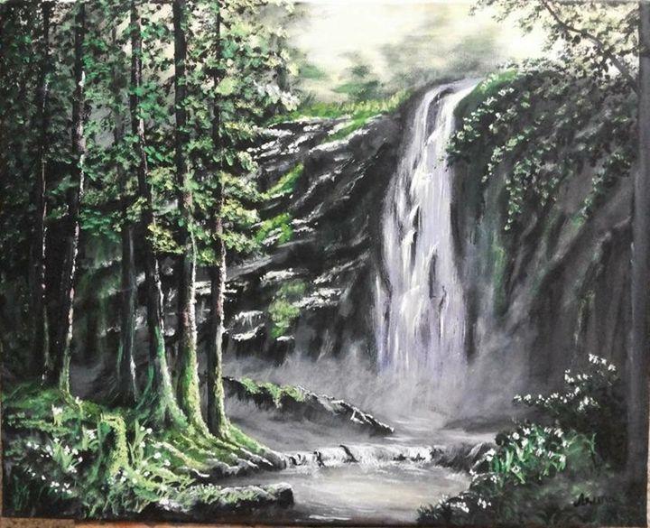 Waterfall on forest - Aruna Art