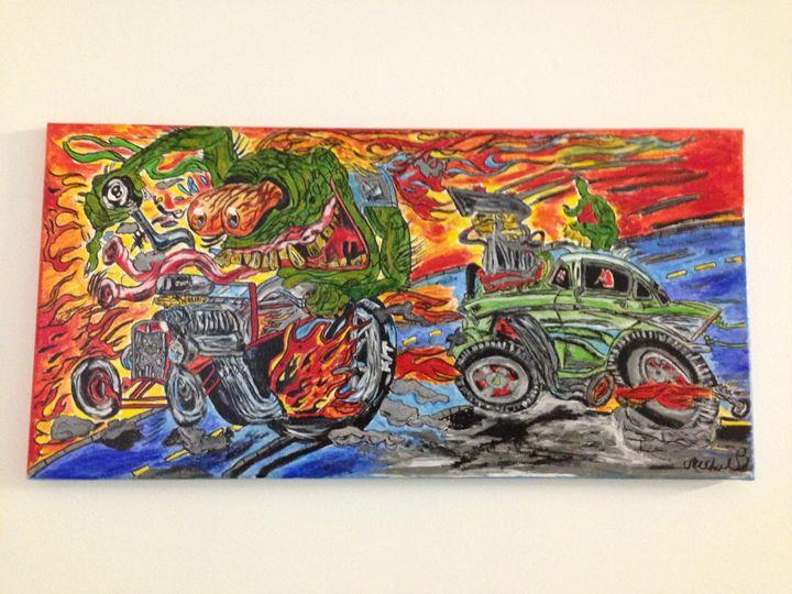 Monsters hot rod racing - Mike bernard art