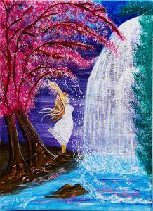 A Girl near a Waterfall