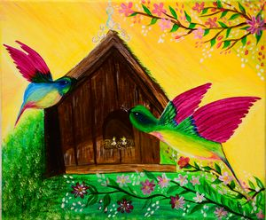 Hummingbird with a Bird House