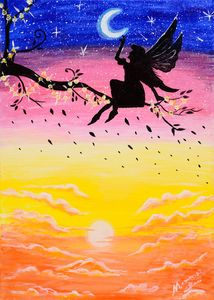 A Fairy in a Day and Night Scene
