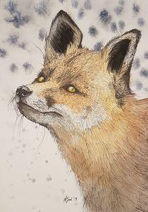 Watercolour Fox in the Snow