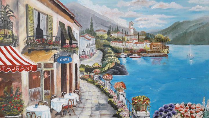 Cafe at Lake Como - Studio D'Arte