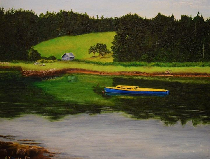 BLUE AND YELLOW BOAT - Louise Webber