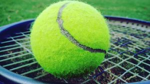 Tennis ball on racket