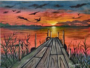 Sunset on river - Creative_paintings