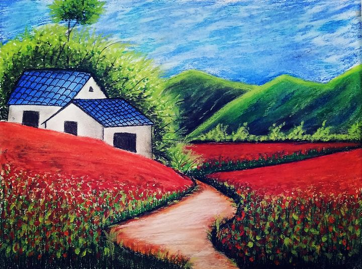 Beautiful landscape with red roses - Creative_paintings