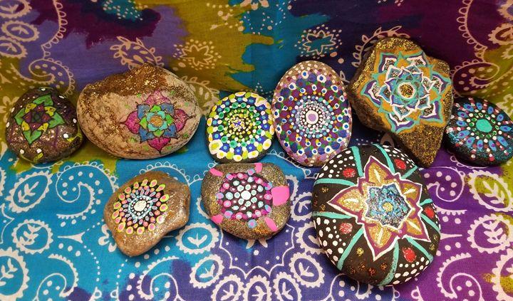 Mandala Painted Rocks - Manoah Nova-Third Eye Creations