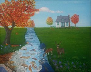 River Landscape In Autumn