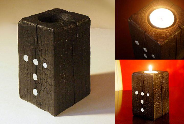 "Black candle holder – model ""T"" - ZHEKO"