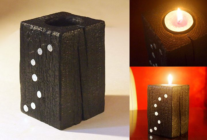 "Black candle holder – model ""S"" - ZHEKO"