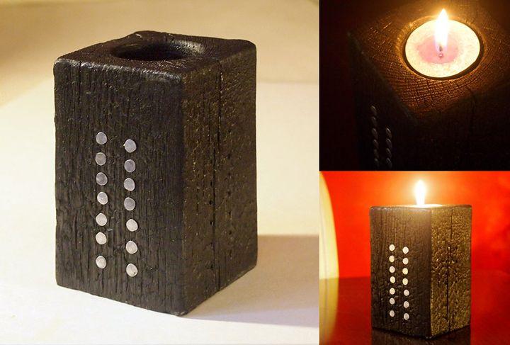 "Charred candle holder – ""Corset"" - ZHEKO"