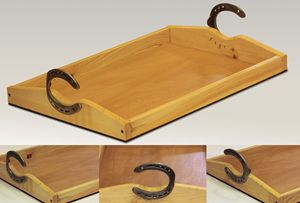 Large serving tray with horseshoe ha
