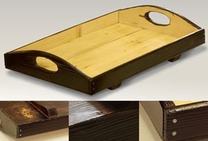 Large and stable wooden serving tray