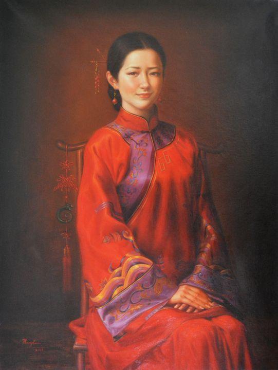 Oil  painting -chinese bride - Hongtao-Art Studio