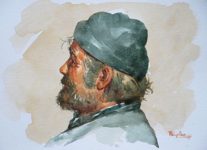 Watercolor- portrait of man - Hongtao-Art Studio