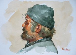 Watercolor- portrait of man