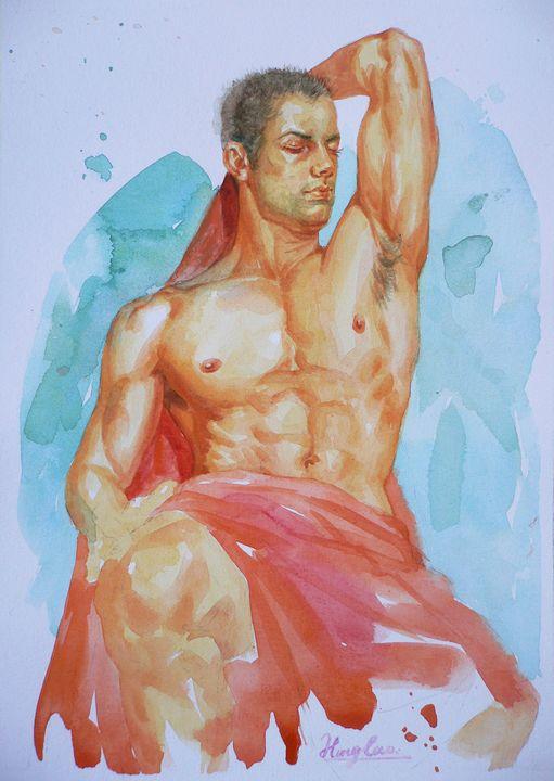 WATERCOLOUR-  MALE NUDE#16 - Hongtao-Art Studio
