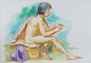 WATERCOLOR MALE NUDE#18