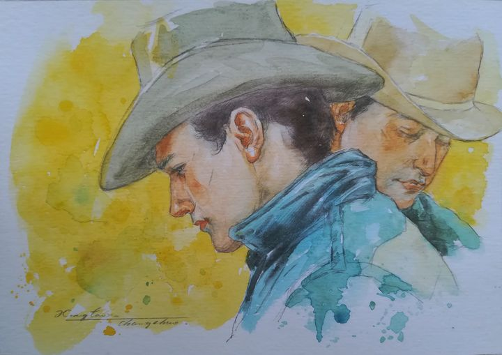 watercolor portrait of cowboys#19 - Hongtao-Art Studio