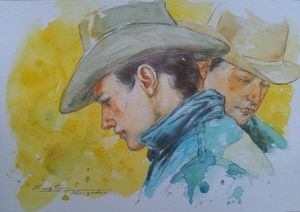 watercolor portrait of cowboys#19