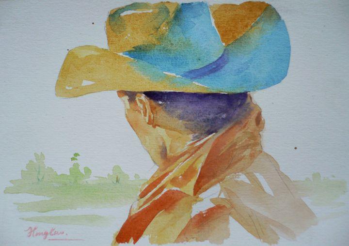 Watercolor- Portrait of cowboy - Hongtao-Art Studio