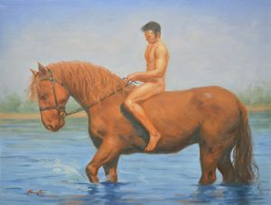 Oil male nudeand horse #4