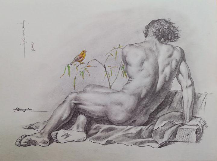 Drawing male nude and bird #8 - Hongtao-Art Studio