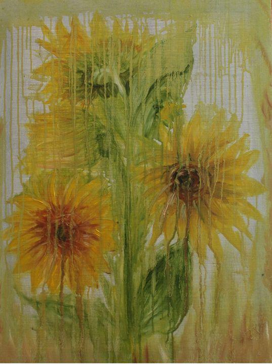 Sunflowers in the Rain - TatibiArt