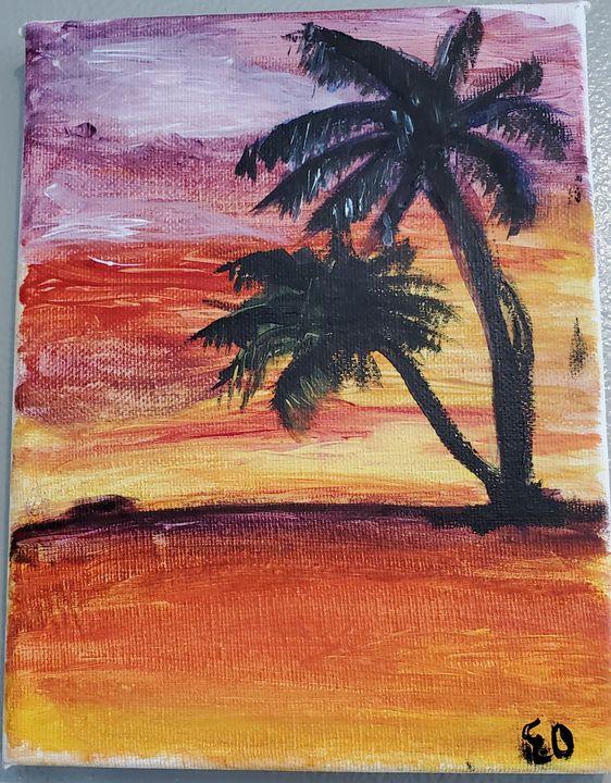 Sunset Palm Trees - Ellen Orellana