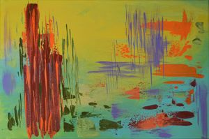 Pond, Monet inspired. Abstract.
