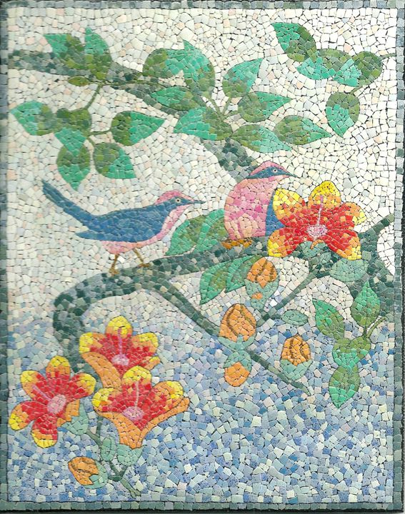 Two Birds EggShell Mosaic - PassionMK