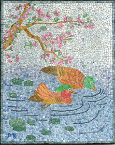 Two Ducks EggShell Mosaic